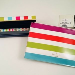 Kate spade candy stripe pen and pencil pouch